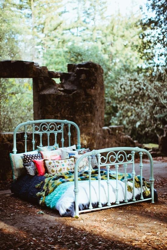 robin's egg blue bed
